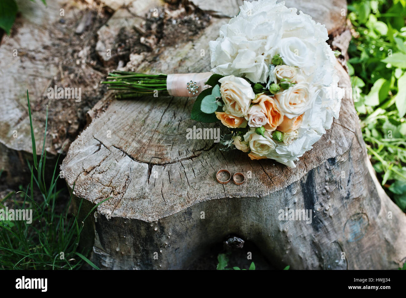 Tenderness Wedding Bouquet With Pink Orange And White Roses Stock