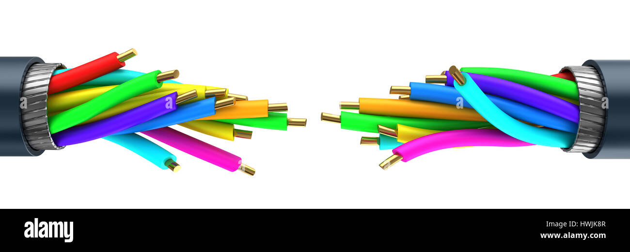 3d illustration of data cable breaked, over white background - Stock Image