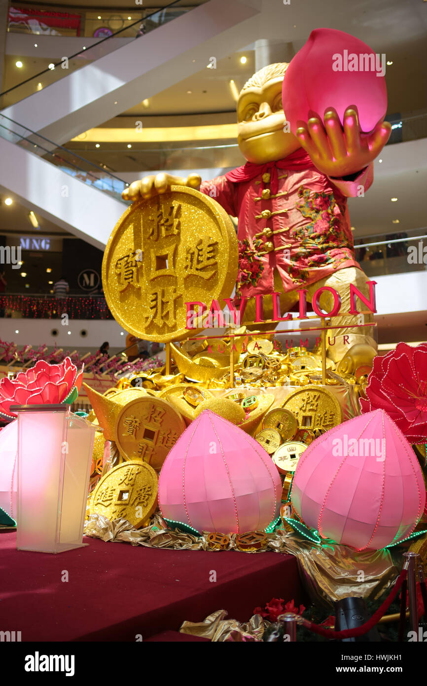 auspicious monkey is the theme of the chinese new year cultural decorations 2016 at pavilion shopping mall kuala lumpur malaysia