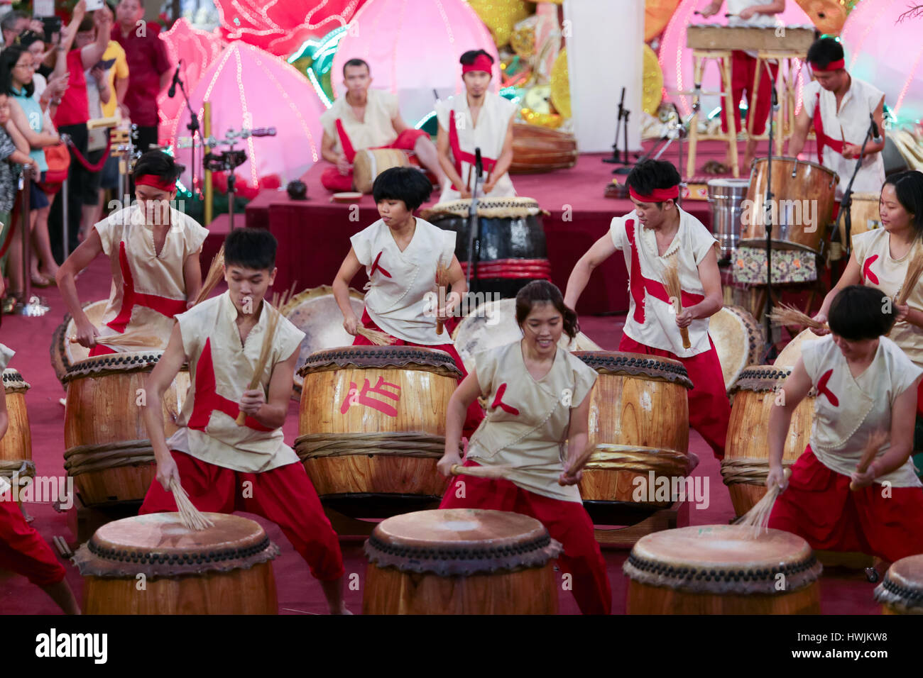Chinese musical drums show at Pavilion shopping gallery, Kuala Lumpur  Malaysia during auspicious monkey chinese