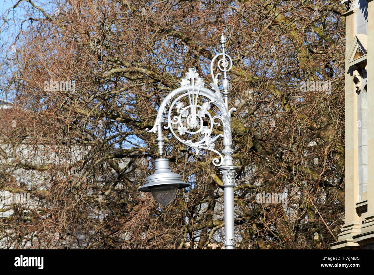 silver traditional swan neck light 23 cast iron lamp posts in Dublin Republic of Ireland - Stock Image