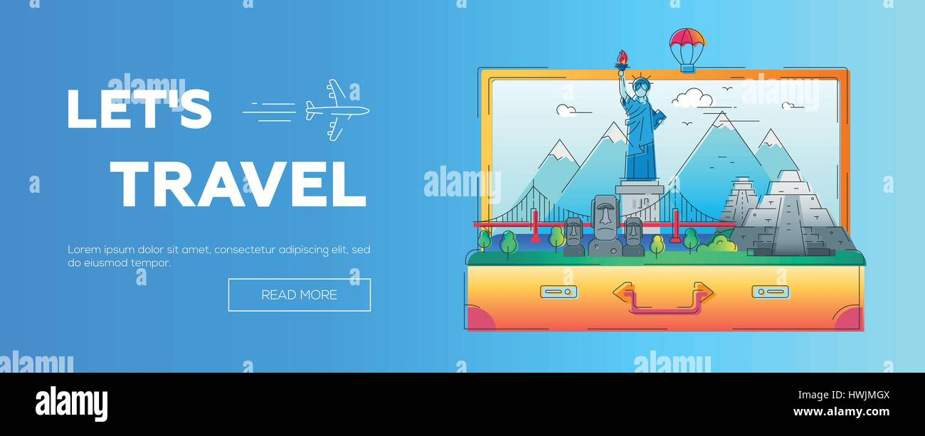 Lets Travel - vector line travel web page header illustration - Stock Vector