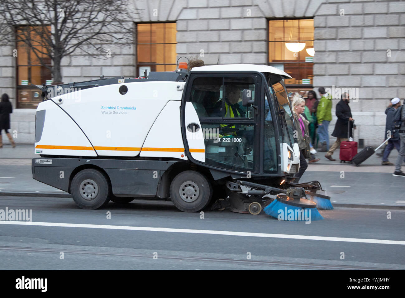 Dublin city waste services street sweeping vehicle on oconnell street Republic of Ireland - Stock Image