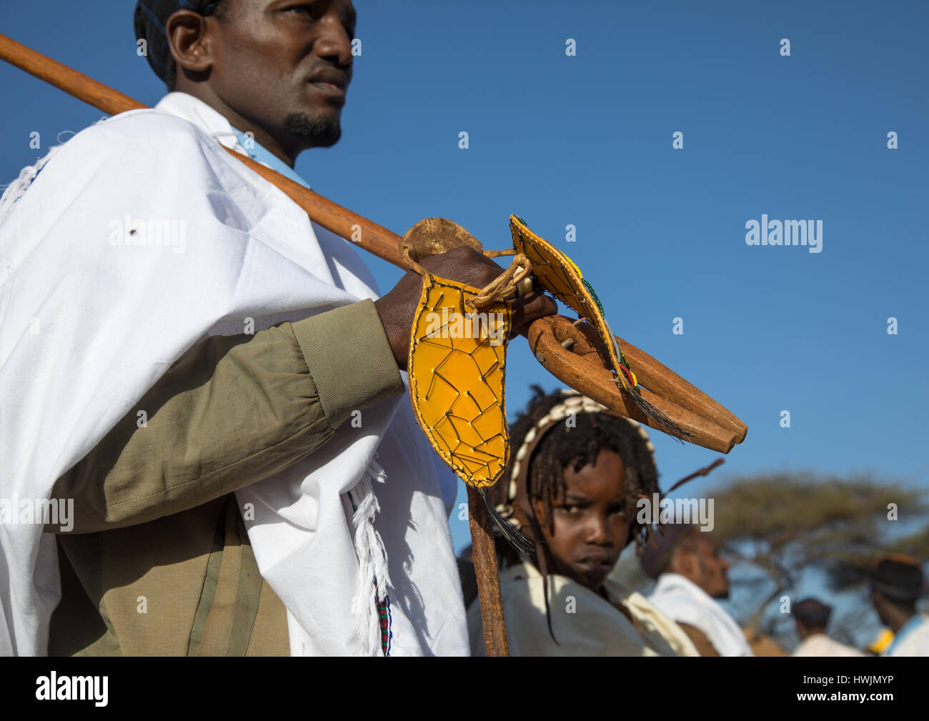 Borana tribe man with his ororo stick during the Gada system Stock