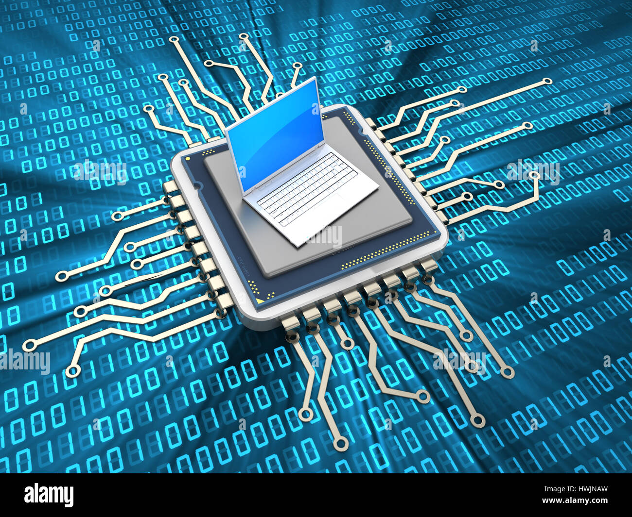 abstract 3d illustration of computer chip with laptop computer - Stock Image