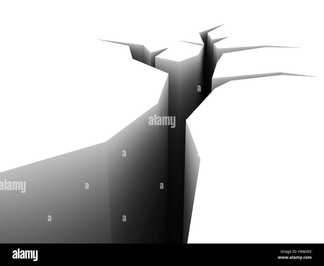 Abstract 3d Illustration Of Crack In White Background Stock