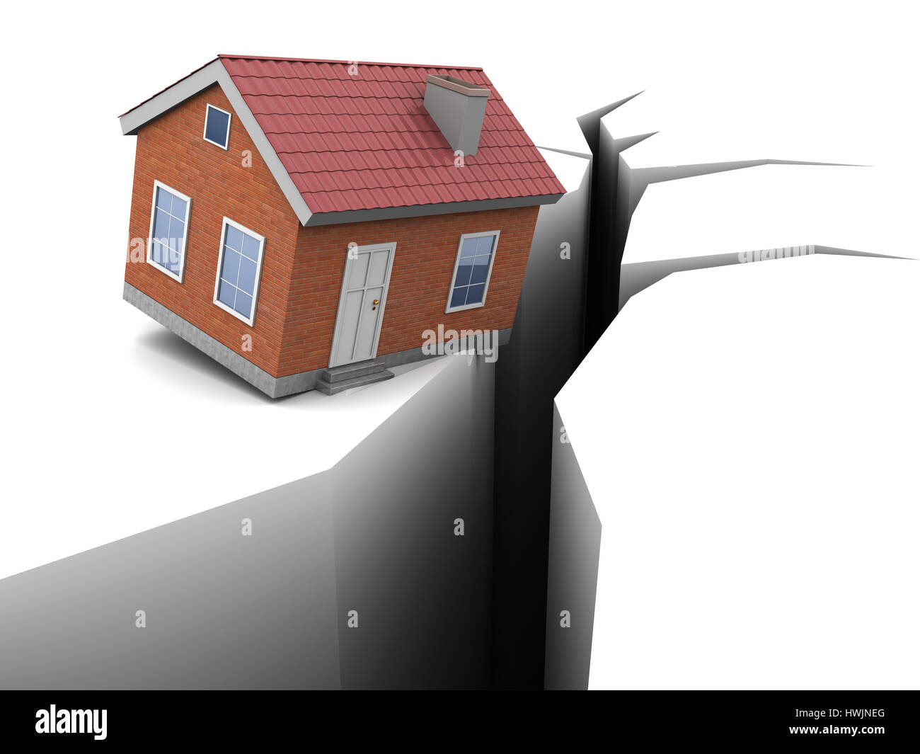 3d Illustration Of House And Crack Earthquake Concept Stock