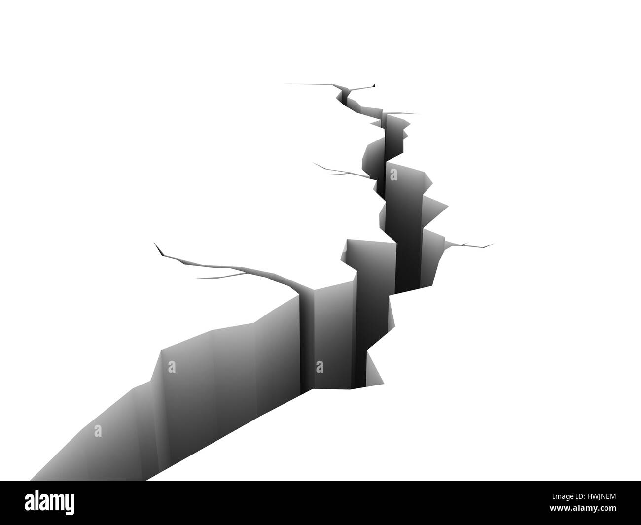 3d Illustration Of Crack Isolated Over White Background