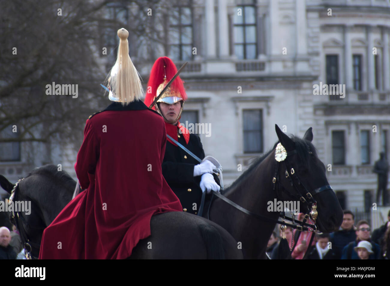 London, UK. 21st Mar, 2017. The queen's life guard is normally provided by men of the household cavalry mounted Stock Photo