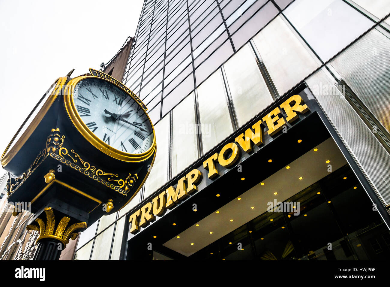 Facade of the Trump Tower, residence of president elect Donald Trump - Stock Image
