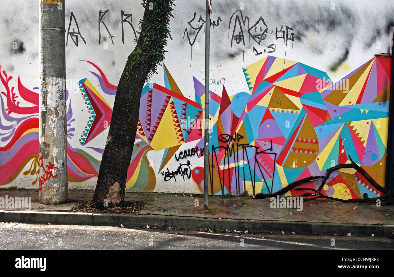 Street Art in Sao Paulo, Brazil - Stock Image