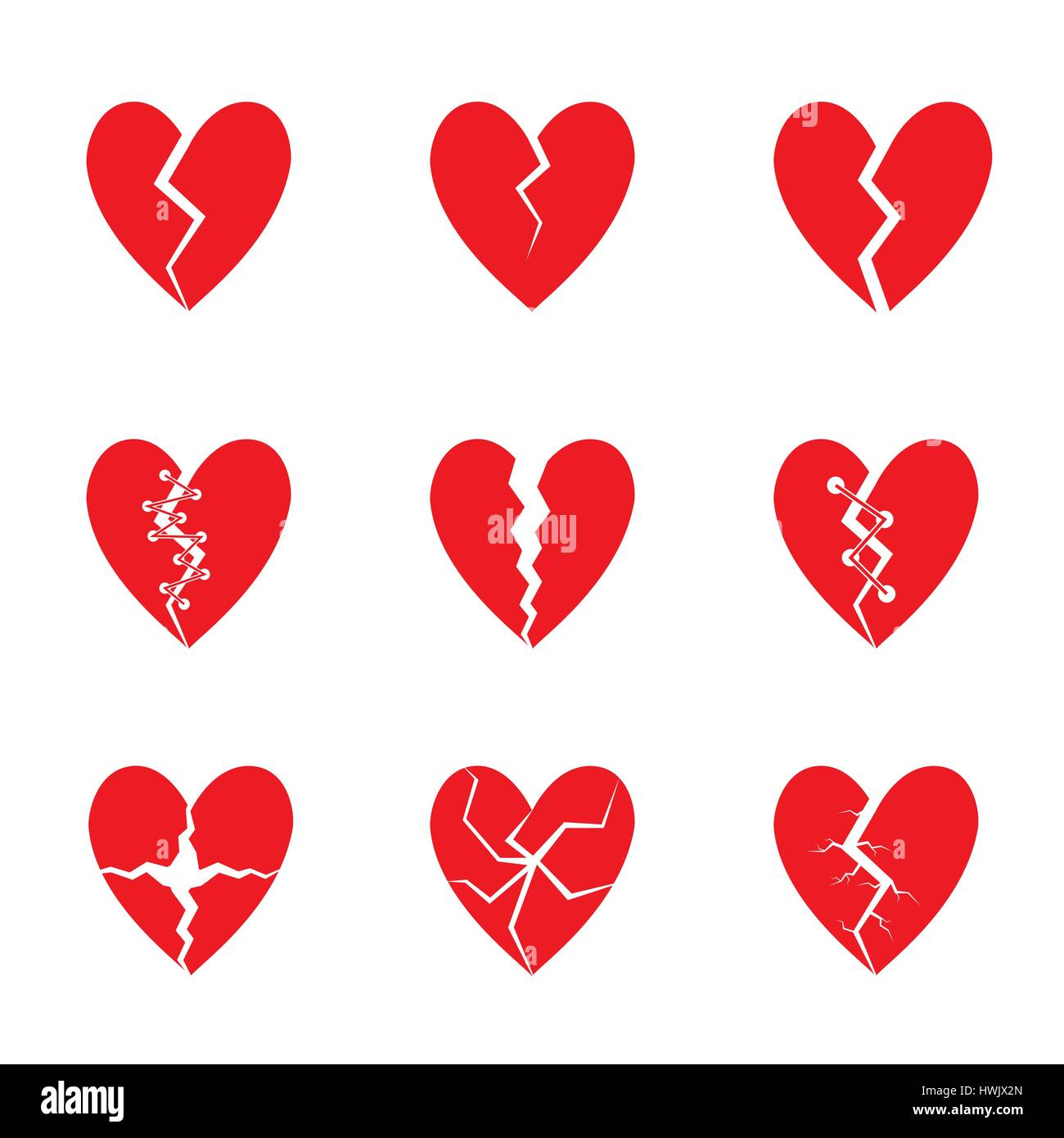 Red heart set - Stock Image