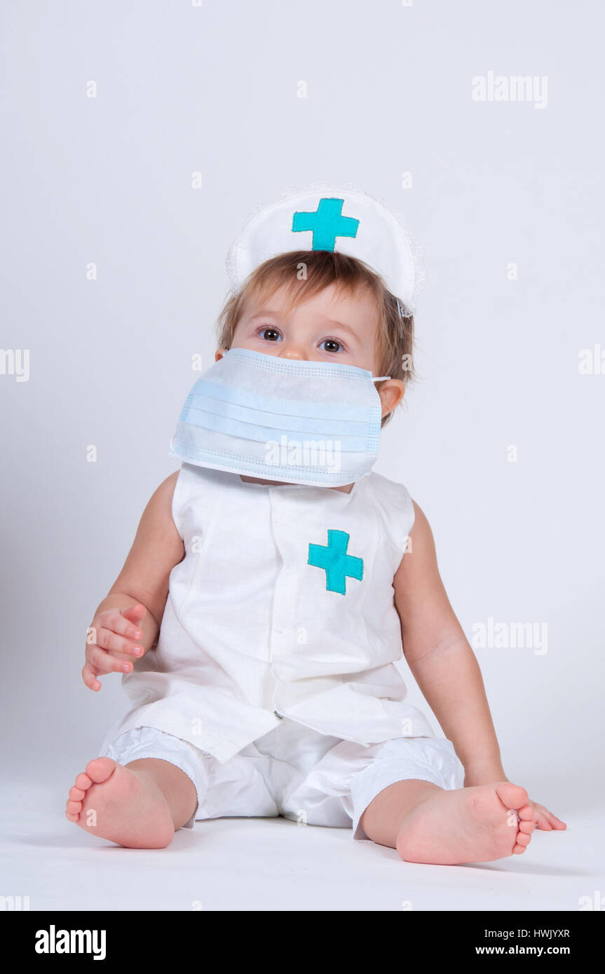 Stock Playing Face Mask Girl Photo Nurse In 136256031 A Child