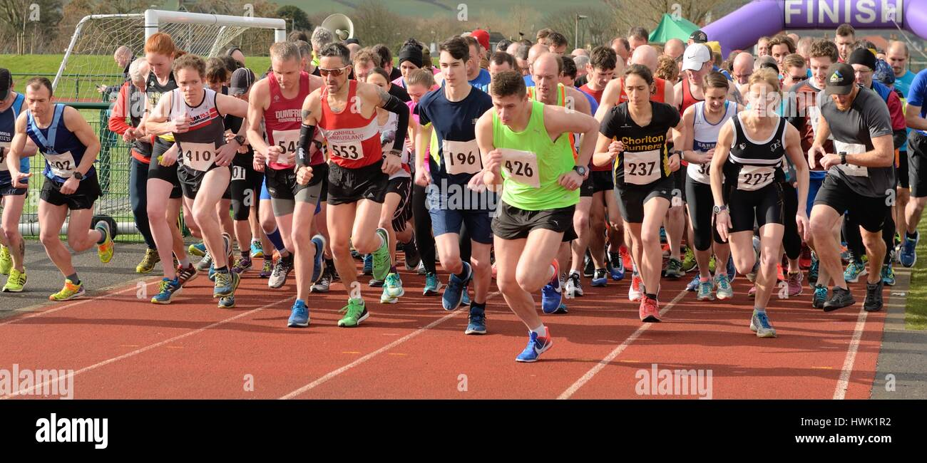 Runners set off on the Stranraer half marathon in Scotland, UK - Stock Image