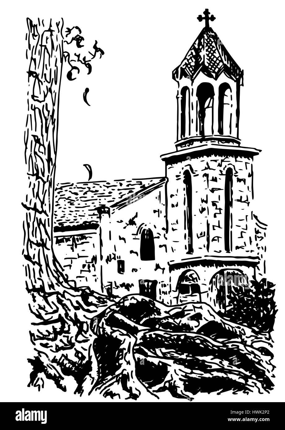 old european Church, Vector hand drawn ink sketch - Stock Vector