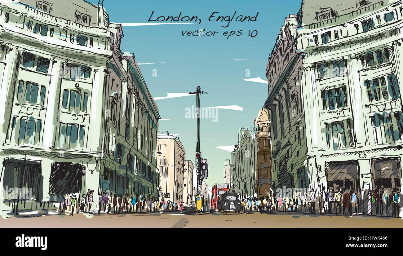 sketch cityscape of London, England, show peoples walk street and shopping center, illustration vector - Stock Vector