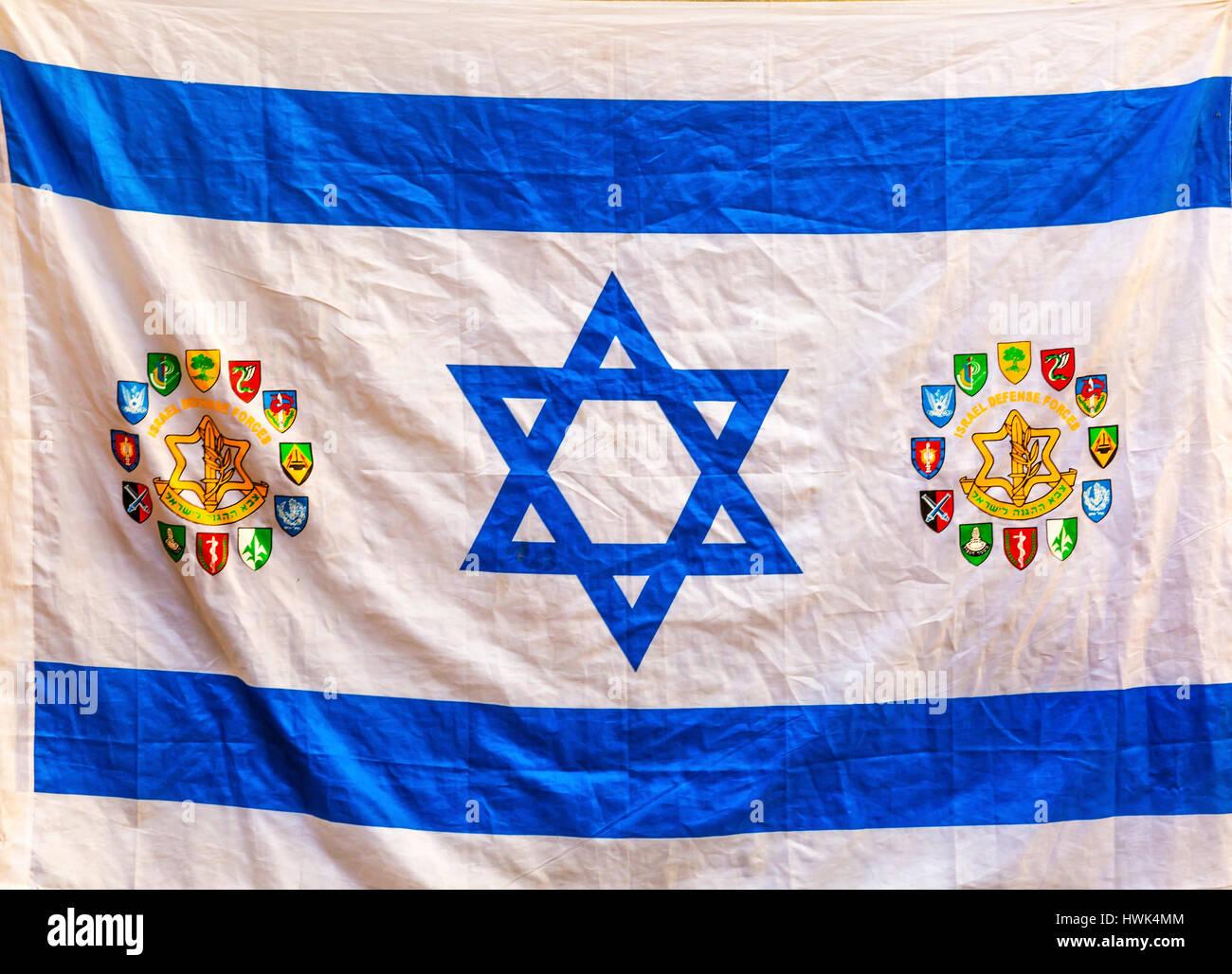 Israeli Flag Western Star of David Jerusalem Israel.  Israeli/Israel Flag with Symbots Different Divisions of IDF, - Stock Image