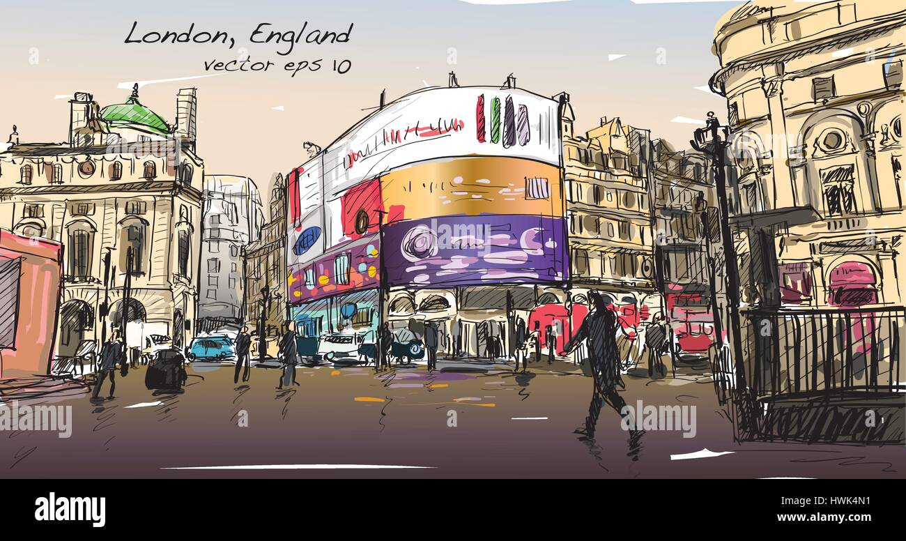 cityscape drawing sketch in London England, show walk street at corner LED light board, illustration vector - Stock Vector