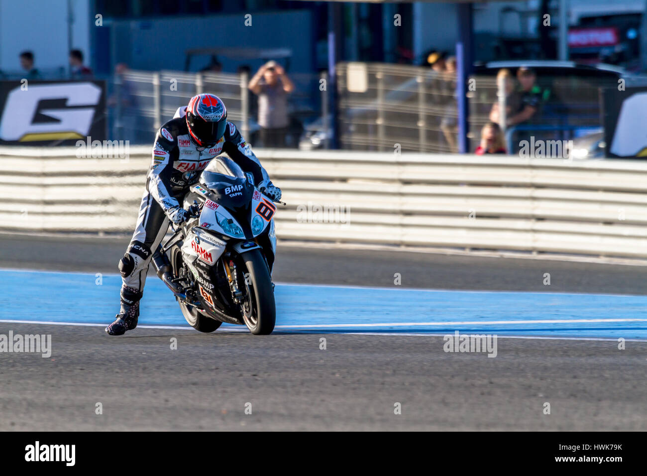 JEREZ DE LA FRONTERA - OCTOBER 16, 2016: World Superbike warm up, Jordi Torres, Althea BMW Racing Team, 81 Stock Photo