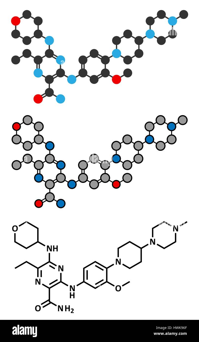 Gilteritinib cancer drug molecule (kinase inhibitor). Stylized 2D renderings and conventional skeletal formula. Stock Vector