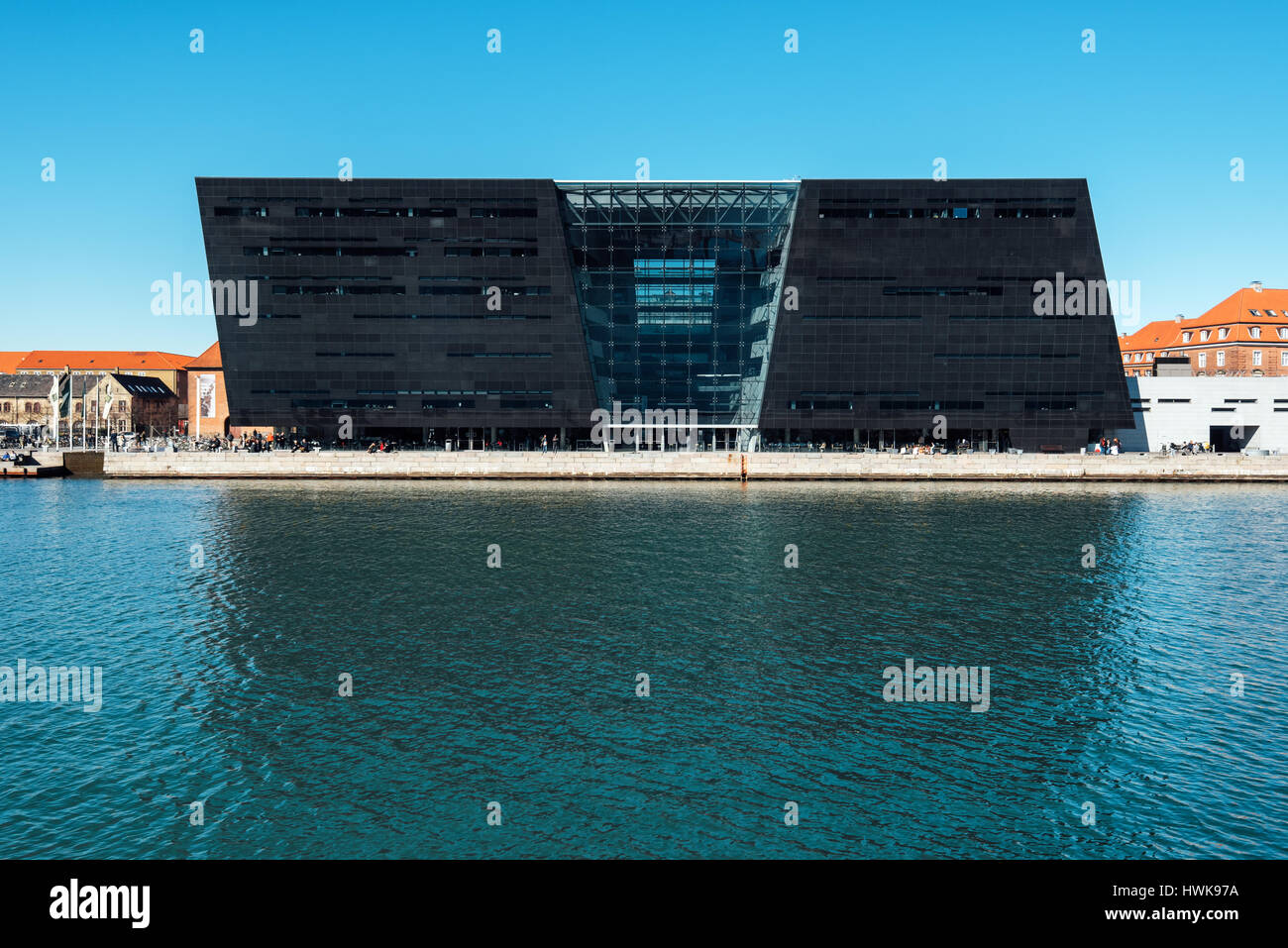 COPENHAGEN, DENMARK - MARCH 11, 2017: Black Diamond, modern waterfront extension to the Royal Danish Library in Stock Photo