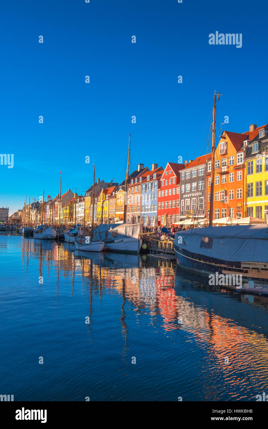COPENHAGEN, DENMARK - MARCH 11, 2017: Copenhagen Nyhavn district. In 1977, Nyhavn was inaugurated as a veteran ship - Stock Image