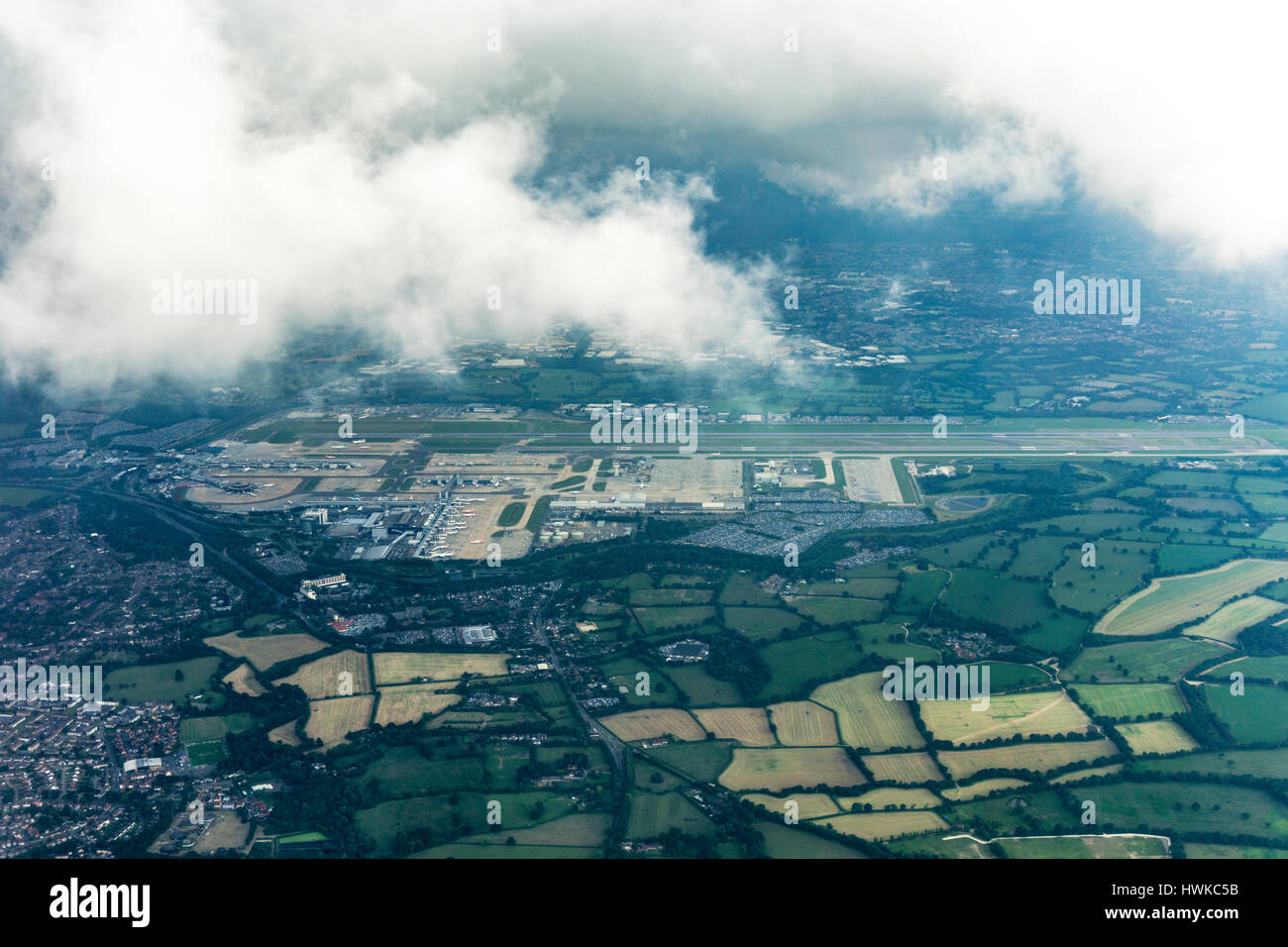 Aerial view of London Gatwick Airport, UK - Stock Image