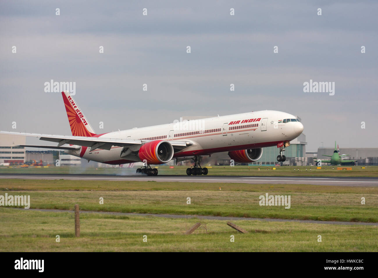 Air India Boeing 777 touching down at London Heathrow Airport, UK - Stock Image