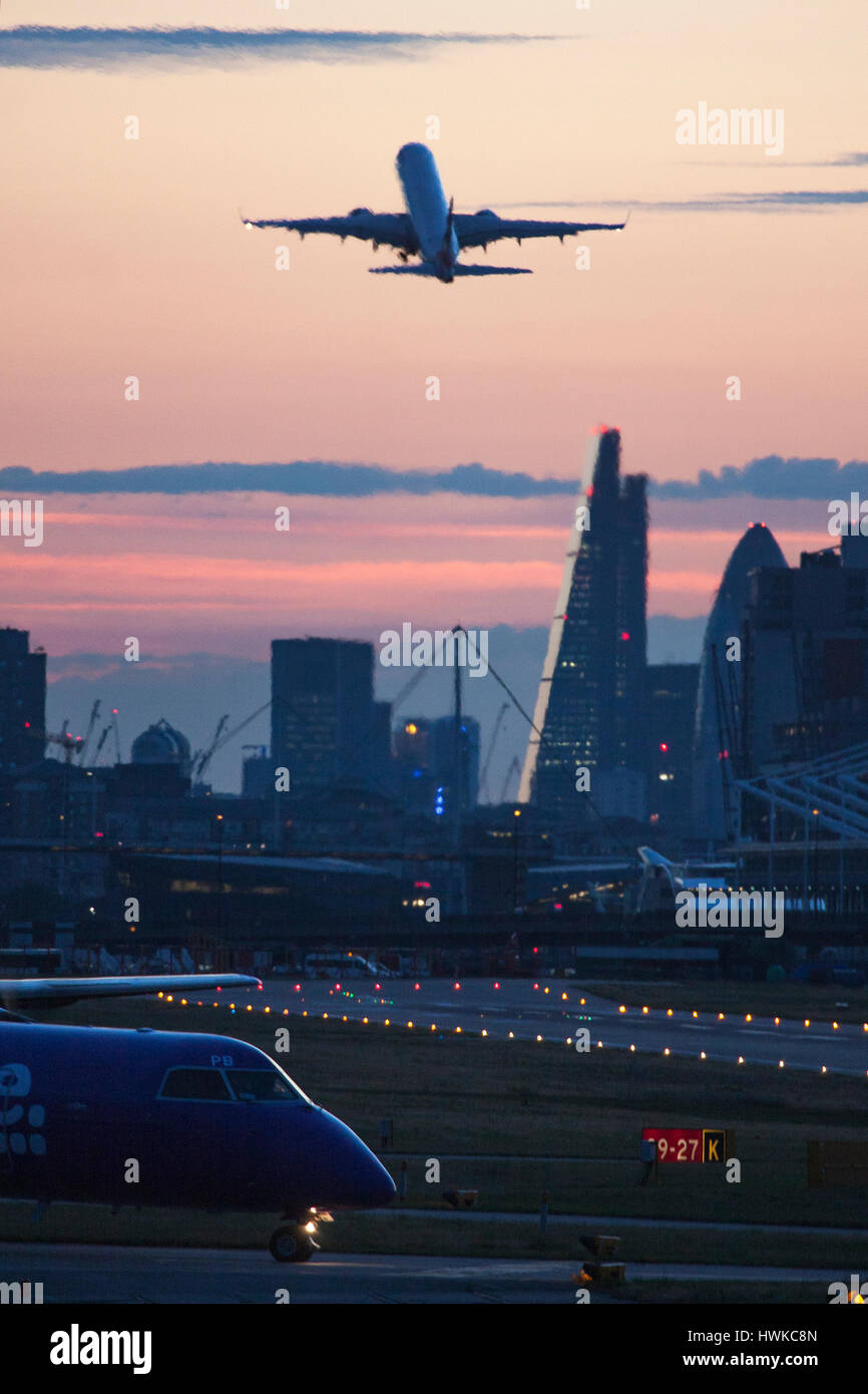 Airplane landing at London City Airport, UK Stock Photo