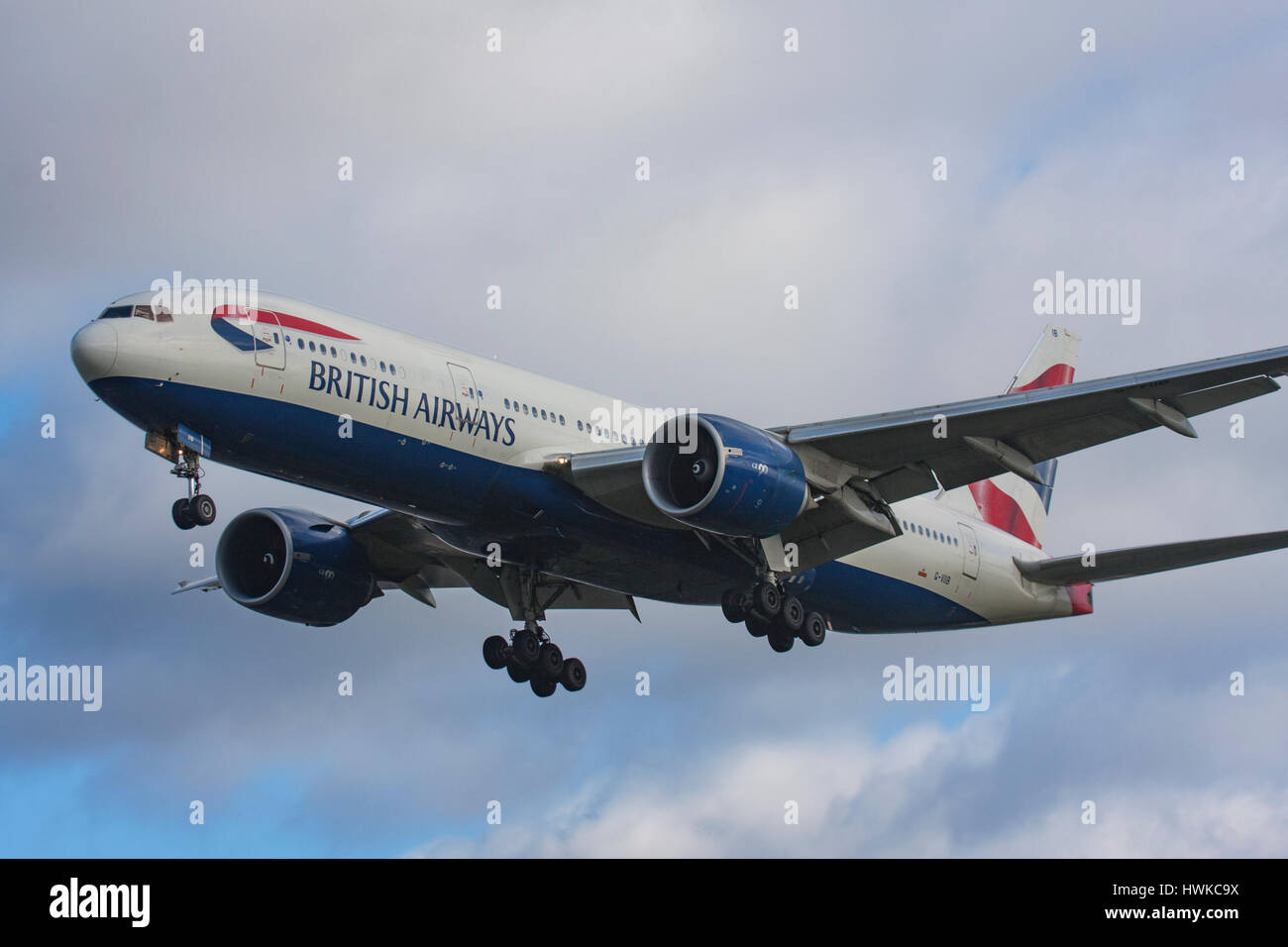 British Airways Boeing 777-236/ER landing at London Heathrow Airport, UK Stock Photo