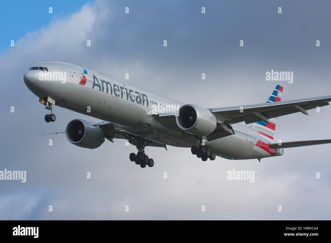 American Airlines Boeing 777-323/ER at London Heathrow Airport, UK - Stock Image