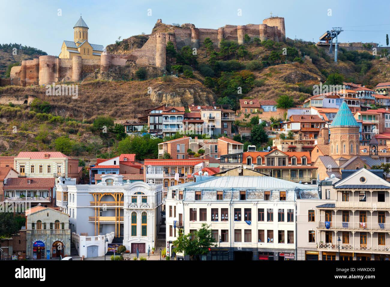 Narikala Fortress and Saint Nicholas Church, Tbilisi, Georgia, Caucasus, Middle East, Asia - Stock Image