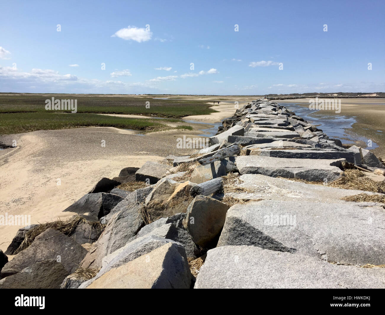 foot bridge to the tip of Cape Cod - Stock Image