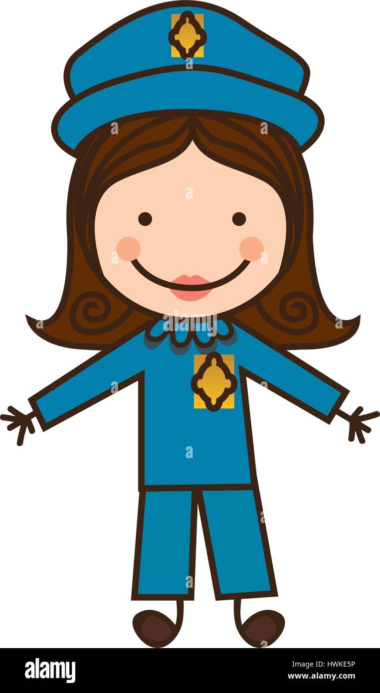 happy woman police icon - Stock Image