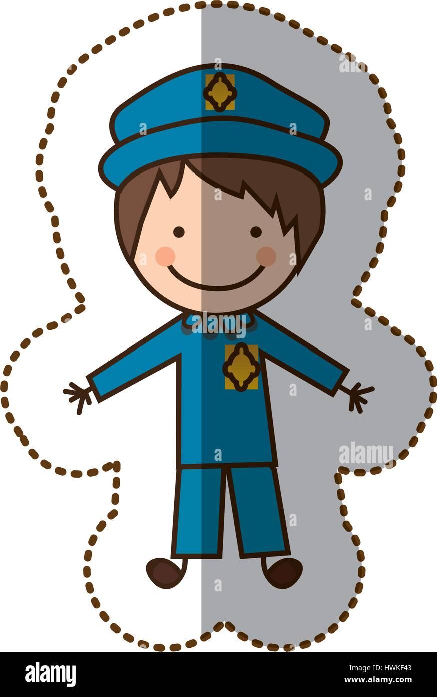 happy man police icon - Stock Image