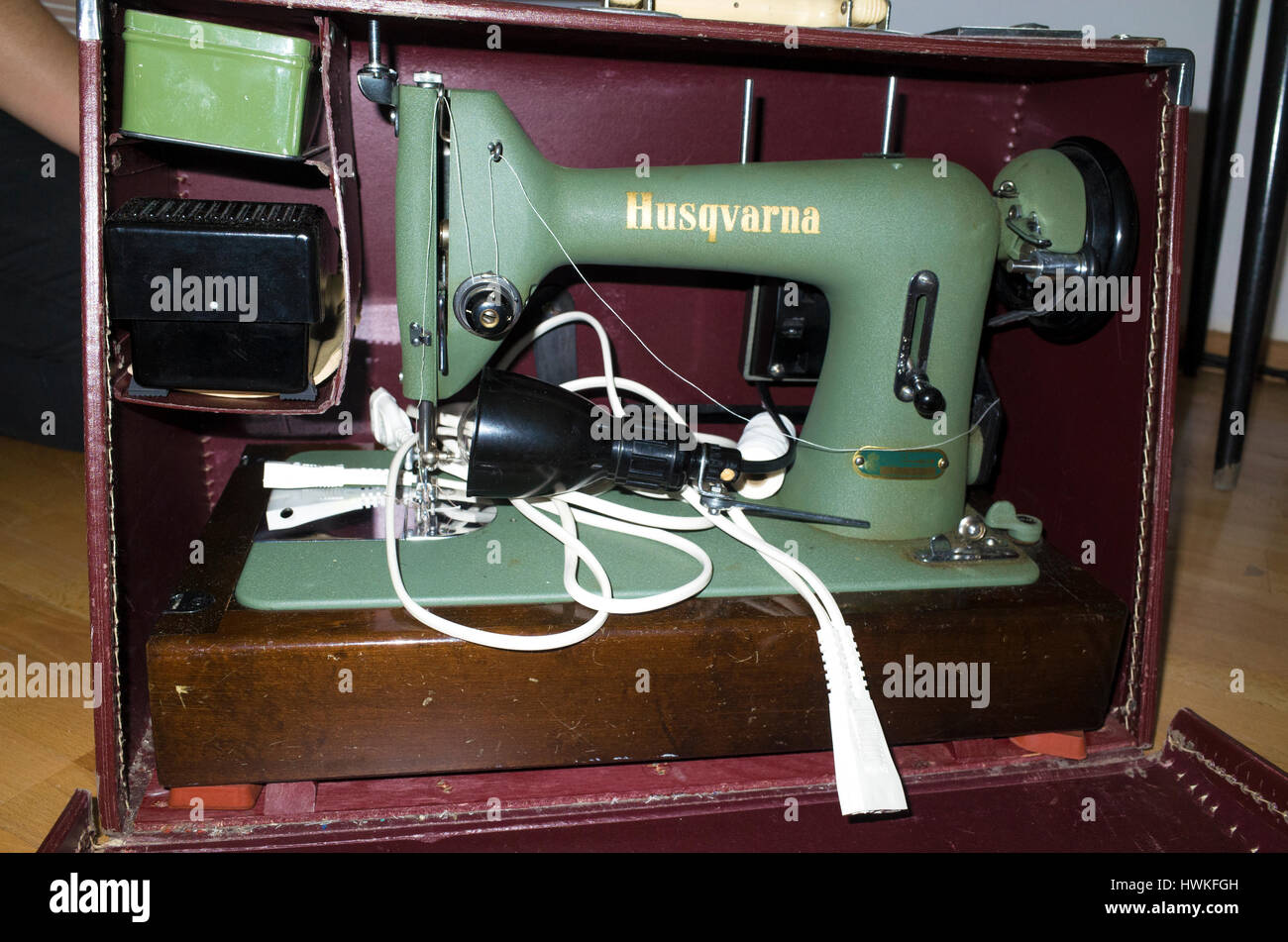 Old, but working Husqvarna sewing machine in the home. Zawady Central Poland Europe - Stock Image