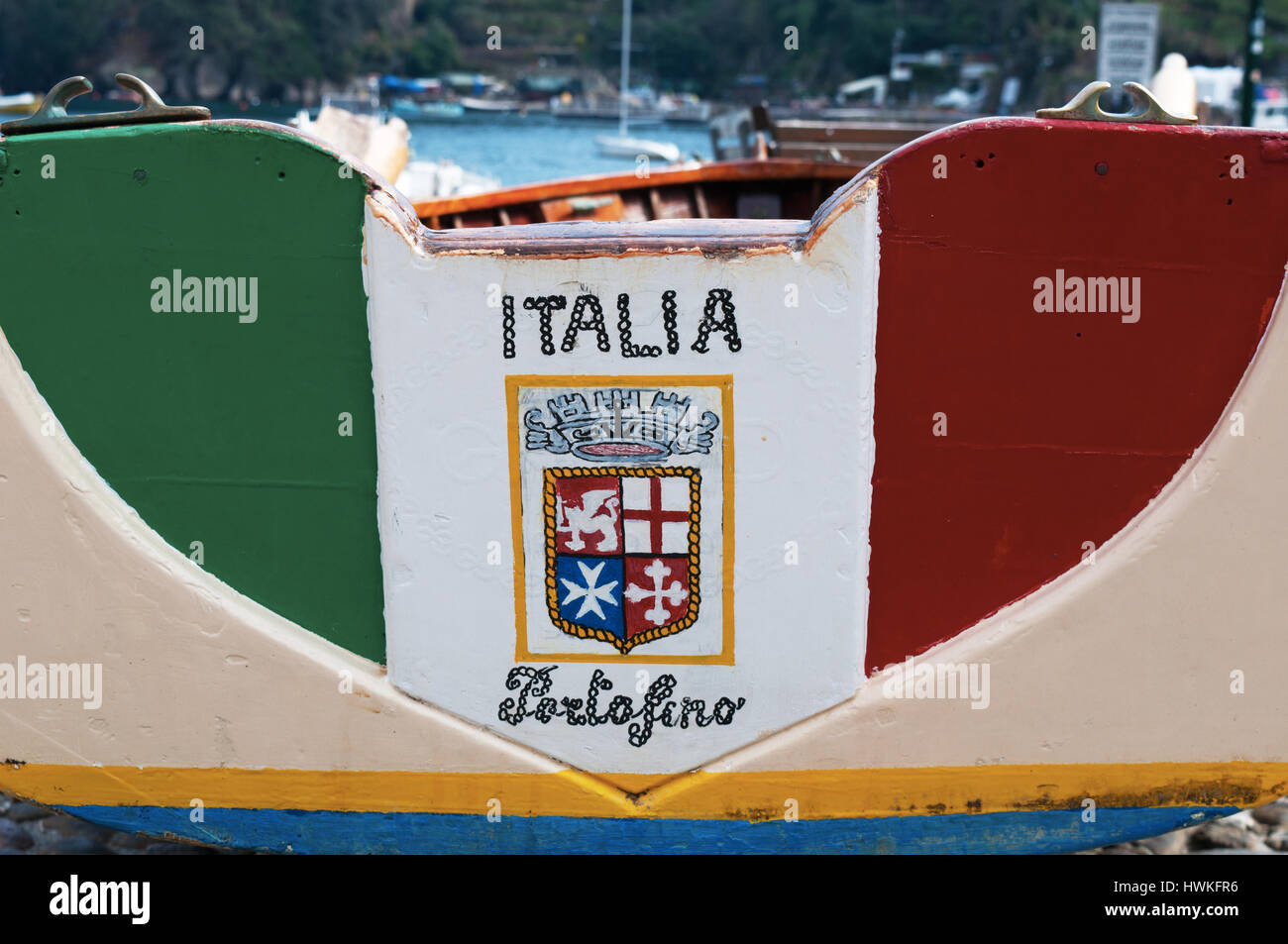 Fishing boat with italian flag colors in Piazzetta, the little ...