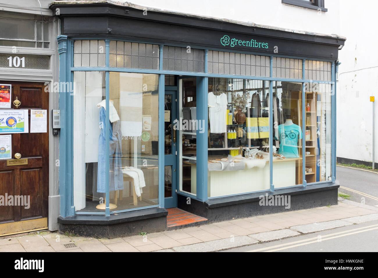 Greenfibres organic and natural fibres shop in Totnes High Street, Devon - Stock Image