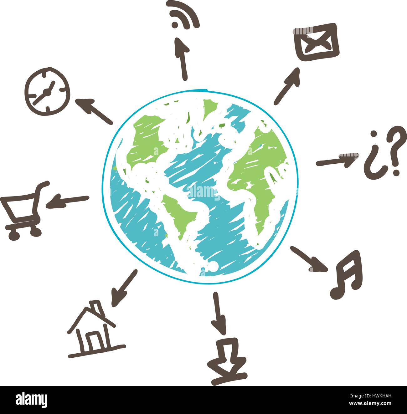 global connect apps services network - Stock Image