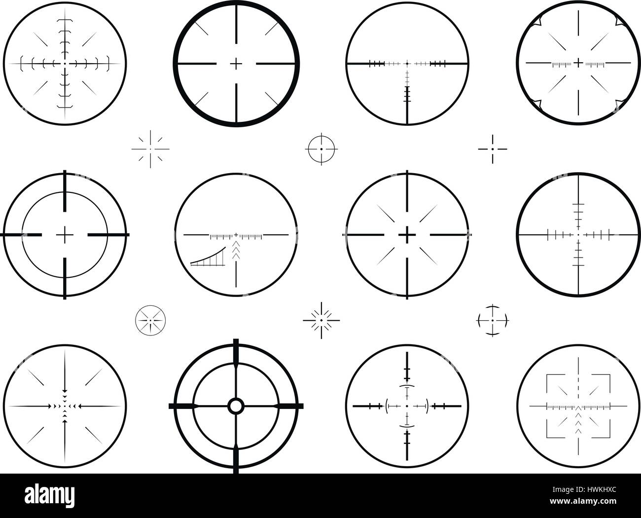 Target, sight sniper set of icons. Hunting, rifle scope, crosshair symbol. Vector illustration Stock Vector