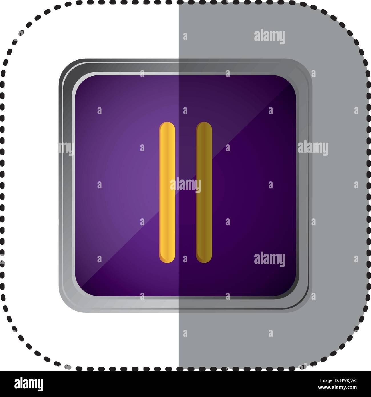 purple emblem pause button - Stock Image