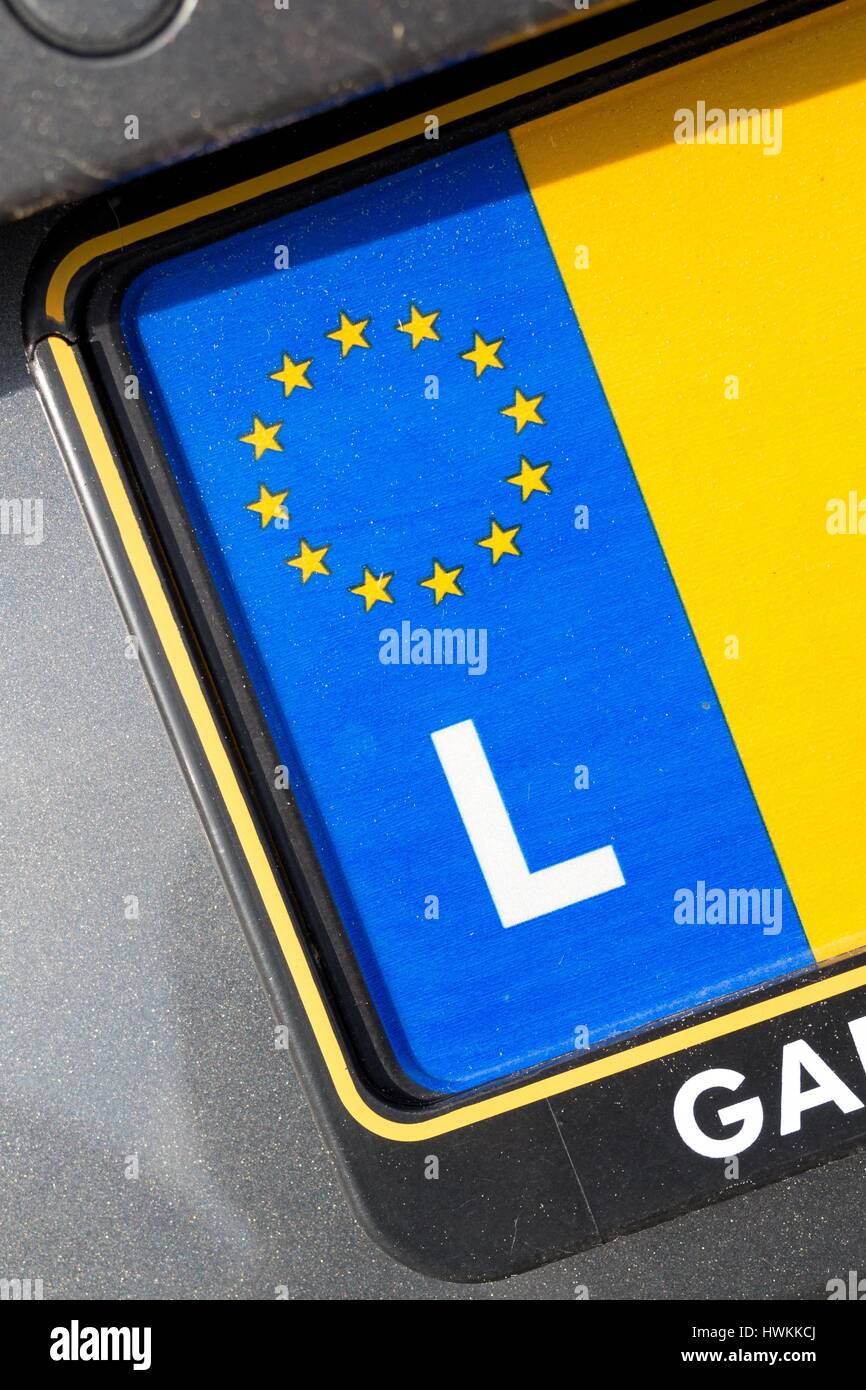 Country Identifier Of Eu Car Registration Plate Luxembourg Stock