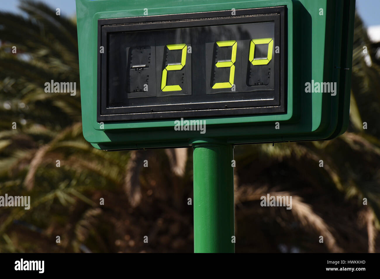 Information sign providing real time temperature in country - Stock Image
