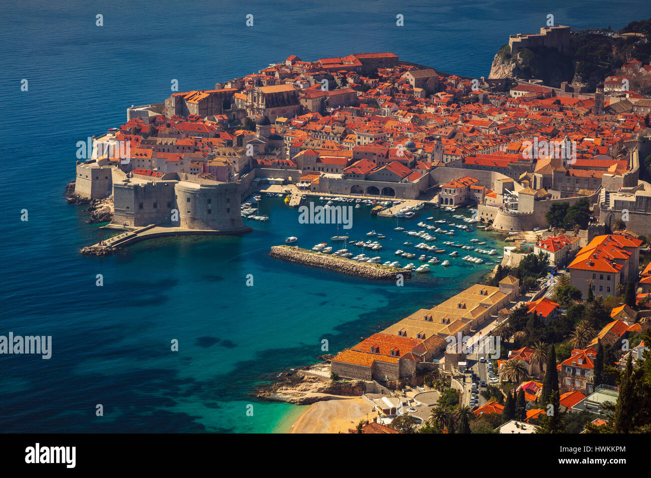 Dubrovnik, Croatia. Beautiful romantic old town of Dubrovnik during sunny day, Croatia,Europe. - Stock Image