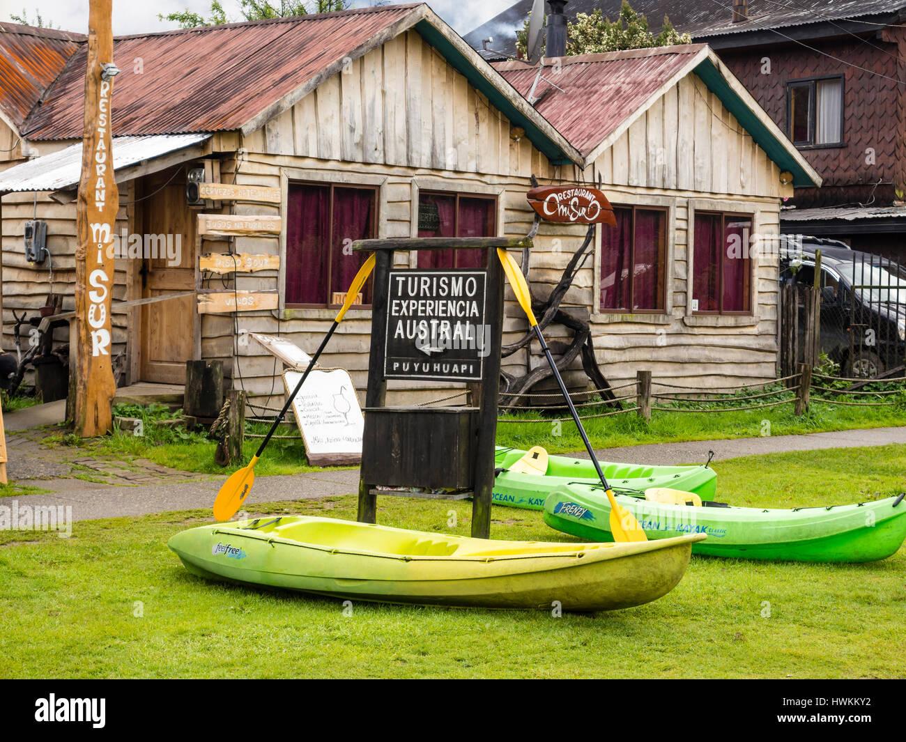 Kayaks to rent, village Puyuhuapi, Patagonia, Chile - Stock Image