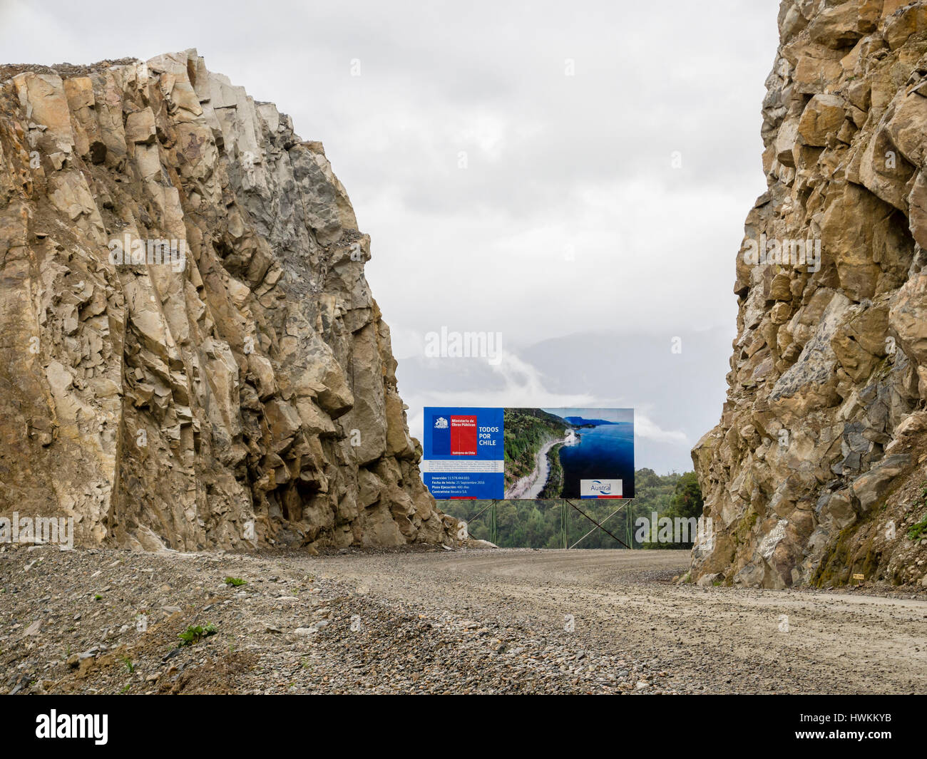 Construction work, road Carretera Austral south of Puyuhuapi, Patagonia, Chile - Stock Image