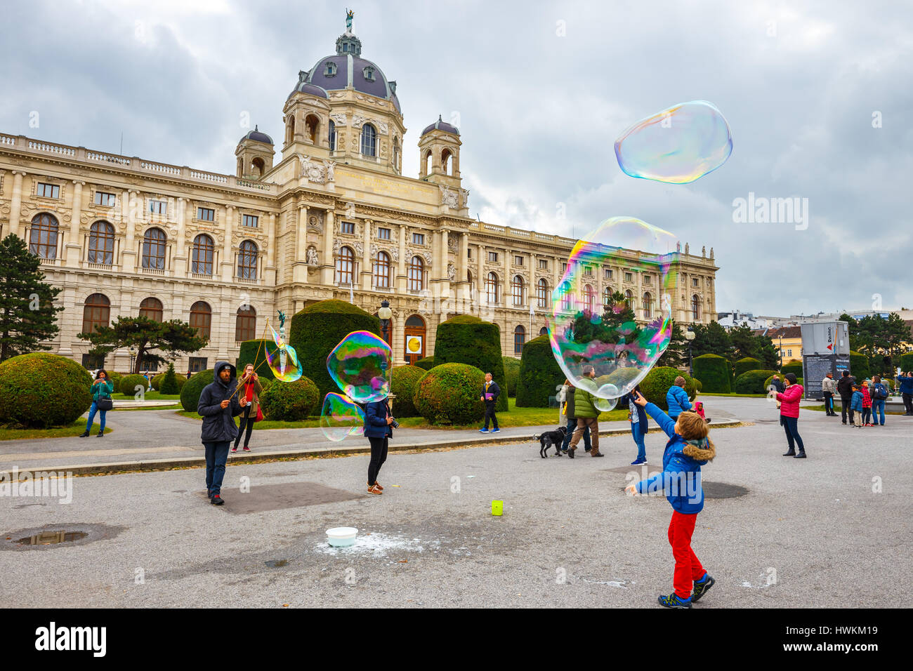 Vienna, Austria - 13 October, 2016: View of famous Natural History Museum with park and sculpture in Vienna, Austria Stock Photo