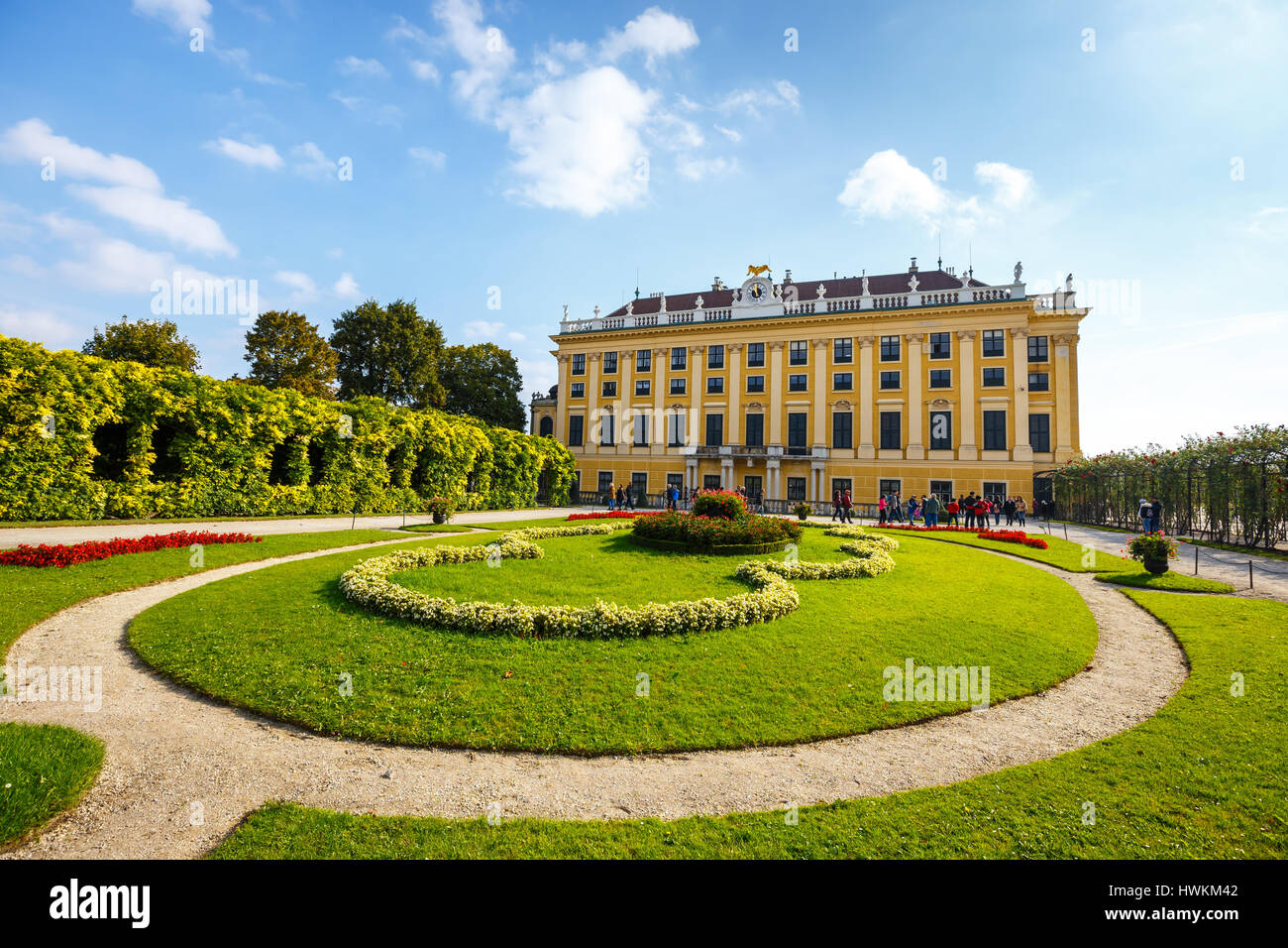 Vienna, Austria, October 14, 2016: Schonbrunn Palace in Vienna. Baroque palace is former imperial summer residence - Stock Image