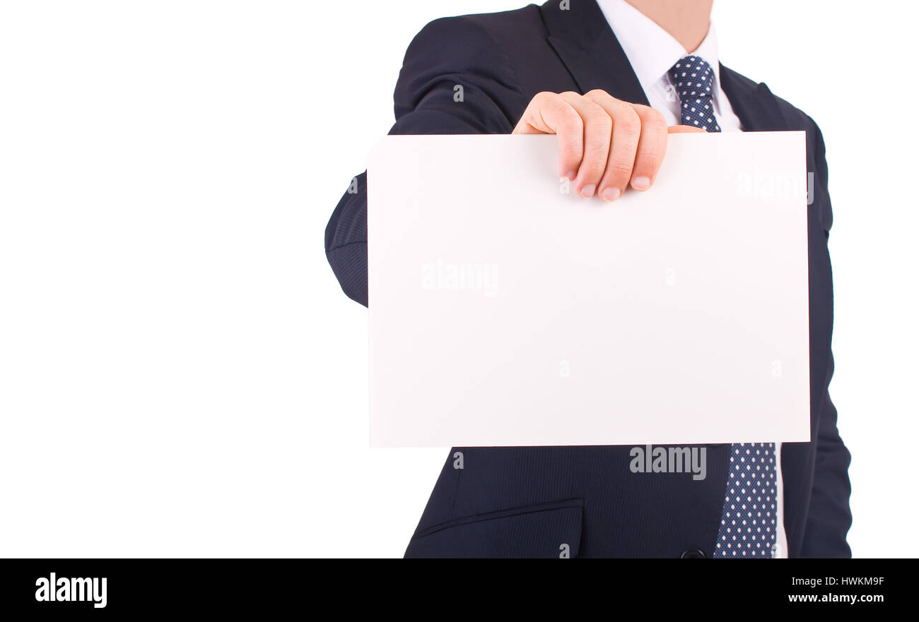 Business man showing blank sign. - Stock Image