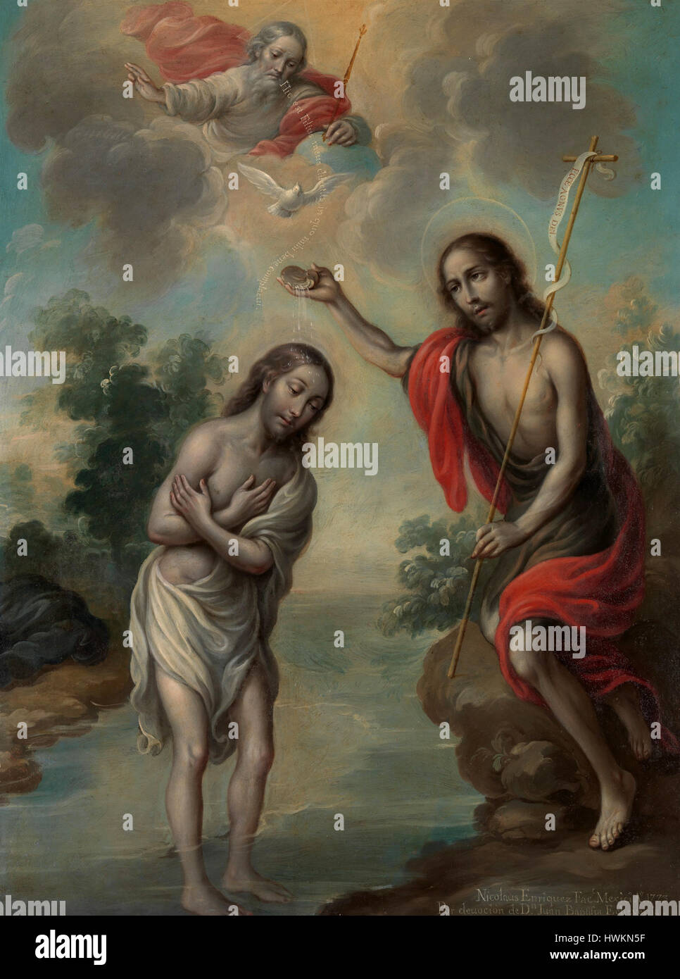 The Baptism of Christ by Nicolas Enriquez - Stock Image